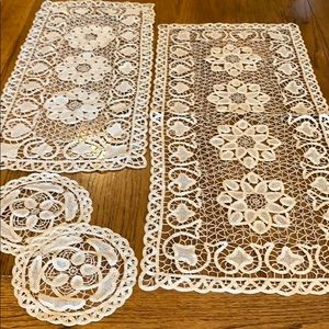 Handmade Beige/Tan colored beautiful Doilies